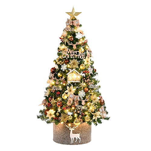 LHSUNTA Artificial Christmas Tree,with LED Lights metal Stand Classic Natural Alpine Clear Lights Solid Metal Legs Garden Deacute;cor-golden 4Ft(120cm)