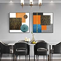 抽象絵画モダンカラーブロックポスタープリントゴールドウォールアート写真リビングルーム人気のキャンバスポスター家の装飾60x60cm2Pcsフレームレス