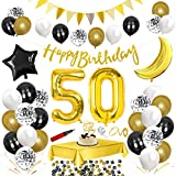 50.Geburtstag Dekoration Schwarz Gold,Happy Birthday Schwarz Geburtstag Party Deko Set,Riesen Folienballon,Nummerndekoration,Konfetti Luftballon,Konfetti Ballon Latexballons mit Happy Birthday Banner