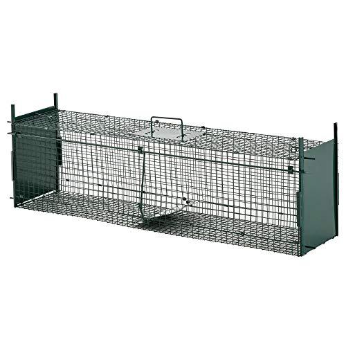 Pawhut Gabbia Trappola per Animali Vivi con Doppia Porta, Trappola per Conigli, Gatti e Piccoli Animali, 100x25x28cm