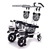 JYWXK Kids Trike, Double Tricycle Lightweight 2-Seat Bicycle Twin Baby Stroller with Detachable Canopy,Safe and Comfort for Kids from 6 Months to 4 Years Old