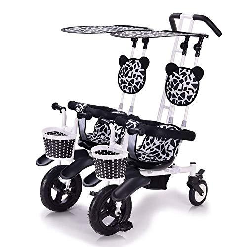 LBBGM Passeggino gemellare per Bambini a 2 posti, Leggero, Doppio Triciclo, per Bici, con tettuccio Staccabile , Sicuro e Confortevole per Bambini dai 6 Mesi ai 4 Anni
