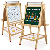 Arkmiido Kids Easel, Double-Sided Magnetic Drawing Board,Wooden Art Easel for Kids,Whiteboard & Chalkboard