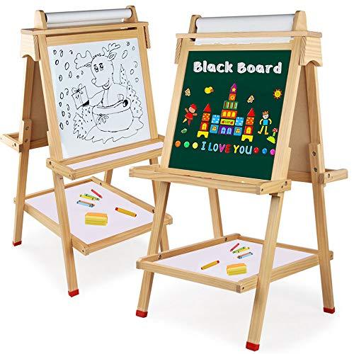 Arkmiido Pizarra Infantil 4 En 1 ,Caballetes para niños ,Tablero de Dibujo magnético de Doble Cara Pizarra con Eje de Carrete de Madera sólida de Nueva Zelanda de Alta Densidad (Color Madera Claro)