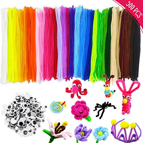 500Pcs Pipe Cleaners Craft Set, Including 300 Pcs Chenille Stems 200 Pcs Wiggle Googly Eyes Self Adhesive, Assorted Colors and Assorted Sizes for DIY Art Craft