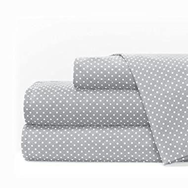 Egyptian Luxury 1600 Series Hotel Collection Pindot Pattern Bed Sheet Set - Deep Pockets, Wrinkle and Fade Resistant, Hypoallergenic Sheet and Pillowcase Set - Queen - Light Gray/White