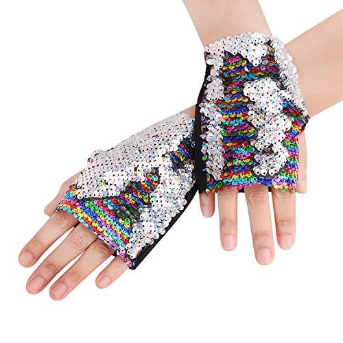 Pailletten Handschuhe Umkehrbar Mermaid Fingerlose Handschuhe Dance Party Favor Bracelet für Kinder, Mädchen, Frauen