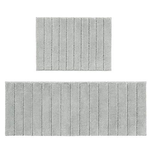 U'Artlines Lot de 2 Tapis de Bain Anti-Glissant Microfibre Absorbant Eau Super Comfort Tapis de Douche pour Salle de Bain (Gris) (45 * 65+45 * 120cm)