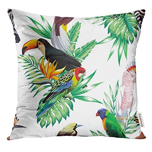 485 Protectora De Almohada 45x45cm Fundas De Almohada Tropical Animals Birds Parrot Maccaw and Toucan On Branch Exotic Floral Banana Palm Beach Tree Flower Tirar Almohada Cojin