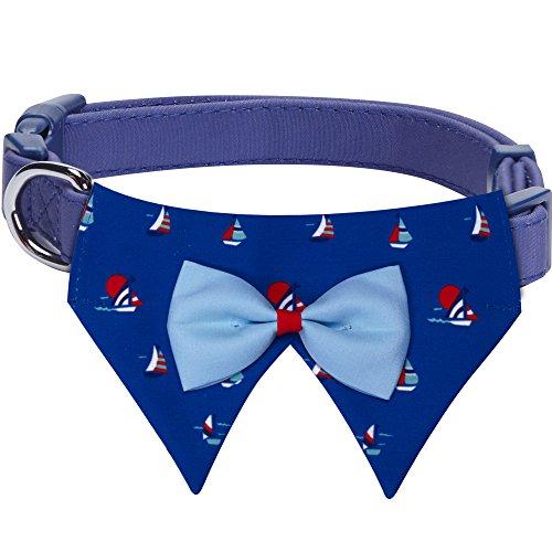 Blueberry Pet Nautisches Marineblaues Segelboot Halstuch Bandana Schal Hundehalsband, M, Hals 37cm-50cm