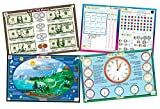 Tot Talk Educational Kids Placemats - 4 Table Mats: Money, Telling Time, Weather, First Grade Math - Reversible Activities - Waterproof, Washable, Wipeable, Durable, Double-Sided, Made in The USA