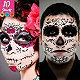 Day of the Dead Face Tattoos Skeleton, dia de los muertos makeup Day of the Dead Makeup,Skeleton Sugar Skull Face Tattoo Kit,Halloween Makeup Skeleton Tattoos Temporary,Glitter Red Roses Face Body