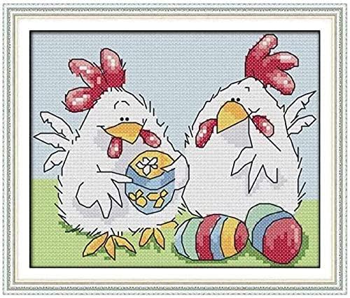 Juego de bordado, regalo de punto de cruz bordado, dos pollos de dibujos animados, imágenes de bordado de bricolaje, manualidades de punto de cruz para principiantes, niños, punto de cruz, decora