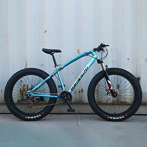AURALLL Léger Fat Tire Bike Outroad VTT en Acier au Carbone Mountain Bike - Simple Style pour,Bleu,7speed 26 inch