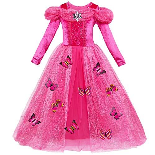 Tsyllyp Little Girls Long Sleeve Princess Beauty Costume Christmas Party Dress