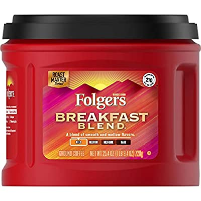 Folgers Breakfast Blend Mild Roast Ground Coffee, 25.4 Ounces