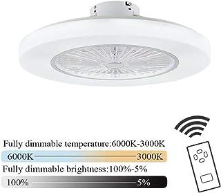 Ventilador de techo con luz led y mando a distancia silencioso blanco lampara de techo colgante Regulable Lighting luz Plafón para Habitación infantil, Salon Sala de Estar, Dormitorio, Comedor