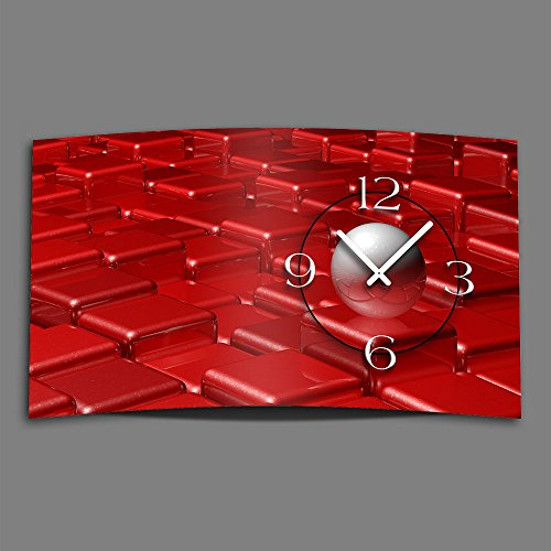DIXTIME 3DS-0420 Horloge murale design abstraite et moderne sans bruit de tic-tac Rouge