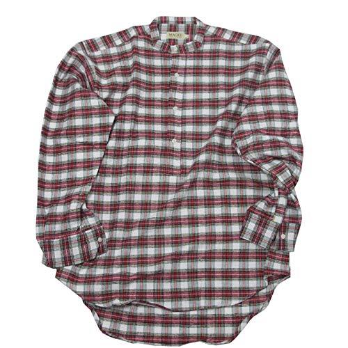 McLaughlin's Irish Shop Irisches Grandfather Baumwollflanellhemd. Rotweißes Dress Stewart karo (XL)