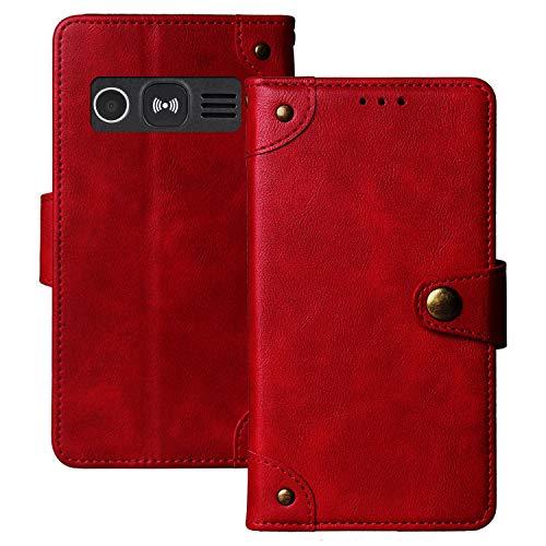 Dingshengk Retro Flip Rot Echt Leder Tasche Hülle Für Doro 1360/1361 / 1362 2.4