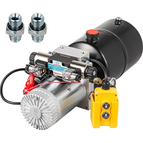 VEVOR Hydraulic Power Unit 12 Volt Dump Trailer Hydraulic Pump Double Acting 6 Quart Hydraulic Pump Electric Hydraulic Cylinder Pump with Brass Pressure Gauge for Dump Trailer Lift Gates & Trucker