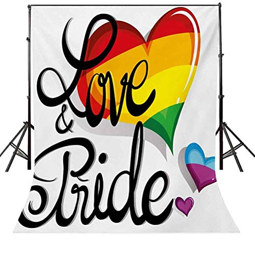 Pride 6x8 FT Photography Backdrop, Vibrant Big and Little Hearts Gay Lesbian Transsexual Love Valentines and Pride Background for Child Baby Shower Photo Vinyl Studio Prop Photobooth Photoshoot