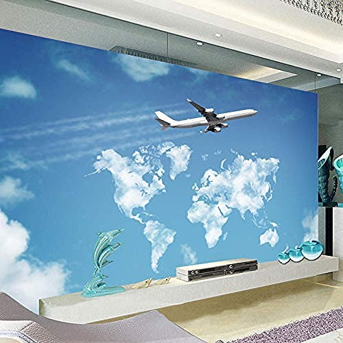 Seamless 3D Custom Blue Sky White Cloud Sky Big Airplane Building Sala de estar Sofá Dormitorio Pint Pared Pintado Papel tapiz 3D Decoración dormitorio Fotomural sala sofá pared mural-400cm×280cm