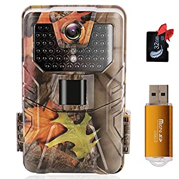 Trail Game Camera - 36MP 1520P 0.2s Trigger Speed Night Vision Motion Activated IP67 Waterproof 120° Detecting Range Hunting Cam with USB 2.0 32G TF Card No Glow for Wildlife Monitoring