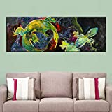 N / A Oil Painting of A Chameleon Mural On Canvas For Living Room Decoration Pictures, Home Decoration Posters and Prints Frameless 8x24 cm