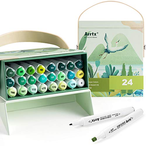 Arrtx ALP Alcohol Markers, 24 Gorgeous Colors Drawing Markers com Dual Tips, Colorir, Desenhar, Desenhar, Anime, Ilustração, Pintar Árvore, Grama, Folhas, Floresta, Plantas (Caixa Verde)
