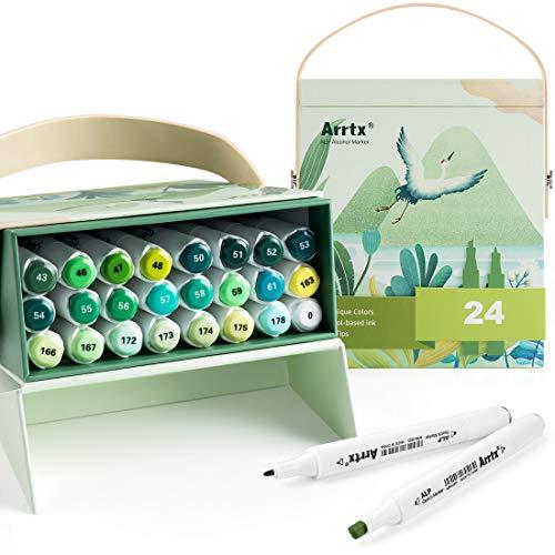 Arrtx Marker stifte 24 Farben Stift Set für Kinder Kunstler, ALP Alkoholbasis Graffiti Stift feine und Keilspitze für Animation, Illustration, Essen, Pflanzen, Urlaubsszenen