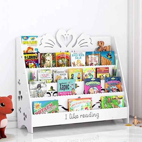 TLMYDD Estantería para libros de dibujos animados para tallar, para sala de estar, suelo, soporte de exhibición para niños, 60 x 32 x 90 cm (color: blanco, tamaño: grande)