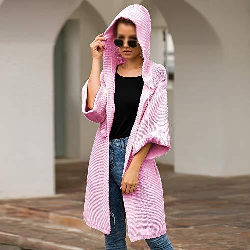 BIXUYAO Damtröja/överdimensionerade hösttoppar kläder långa koftor höst- och vinterjackor mjuka passar för fritid, rosa, S
