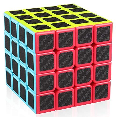 cfmour Speed Cube 4x4x4,Smooth Magic Carbon Fiber Sticker rube Speed Cubes,Enhanced Version,Black