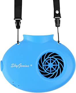 SkyGenius Battery Operated Necklace Fan, Mini Portable USB Rechargeable Fan for Personal Cooling, Kids, Gift, Camping, Outdoor Event, Travel, Concerts, Church, Hot Flash (New Version, Blue)