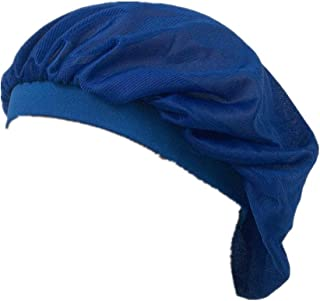 Soft Sleep Cap Night Satin Bonnet with Wide Premium Elastic Band for Women Blue