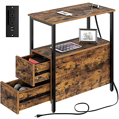 Rolanstar End Table with Charging Station, Narrow Side Table with 2 Wooden Drawers and USB Ports & Power Outlets, Nightstand Sofa Table for Small Spaces, Living Room, Bedroom, Rustic Brown