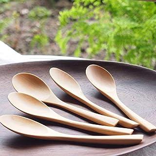 木製 かわいい ナチュラル (M) スプーン 5本セット ツゲ製