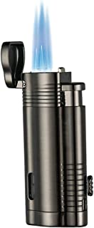 Promise by Honest Torch Lighter Windproof Turbo Triple Flame Gas Butane Refillable Torch Lighter with Punch Cutter Tool and Butane Window,Gadgets for Men (Black Gun)