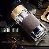 MYSdd Botella de Agua de Vidrio de 400 ml con té de Filtro de Acero Inoxidable, Taza de té portátil al Aire Libre para té de café - marrón