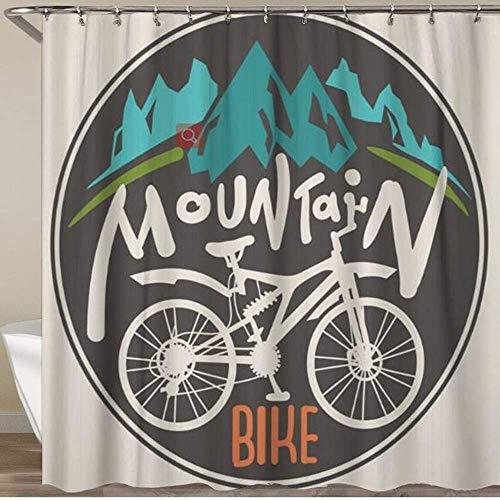 offtggh Shower Curtain,Silhouette Retro Label Mountain Bike Hand Drawn Lettering Bicycle Cycle Sketch Drive,Polyester Fabric Waterproof Bath Curtains Hooks Included - 72 X 72 Inches 72X72IN