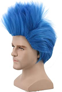 Yuehong Anime Short Layered Cosplay Wig Halloween Costume Party Blue Hair Wigs