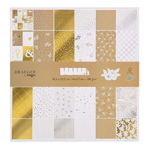 Toga Papel Scrapbooking, Oro Y Blanco, 30,5 x 30,5 cm