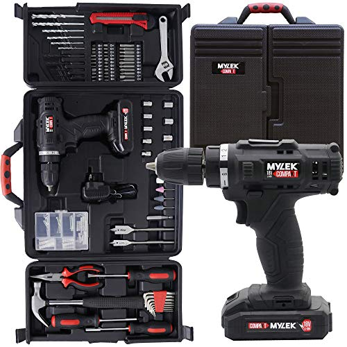 MYLEK 18V Cordless Drill Tool Set Driver DIY Electric Screwdriver Combi...