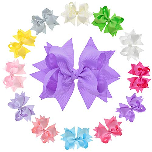 Oaoleer 12Pcs 5Inch Big Hair Bows For Girls Large Grosgrain Ribbon Hair Alligator Clips Boutique Handmade Hair Bows Accessories for Girls Toddlers Teenager Kids(Summer Pure)