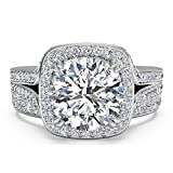 Best Cubic Zirconia Rings - Pophylis Sterling Silver Micro Pave Hand Set 2.4 Review