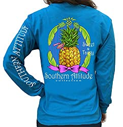 Southern Attitude Pineapple Sapphire Long Sleeve Shirt