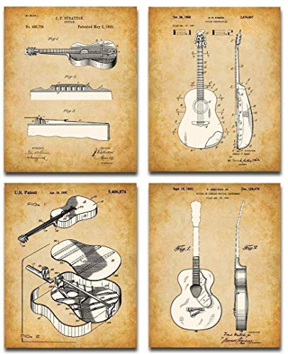 Acoustic Guitars Patent Art Prints - Set of Four Photos (8x10) Unframed - Makes a Great Gift Under $20 for Guitar Players and Musicians
