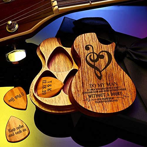 VEELU Médiators de Guitare en Acacia Bois Personnalisé 3PCS Médiators avec Nom & Texte Gravée Personnalaisée...