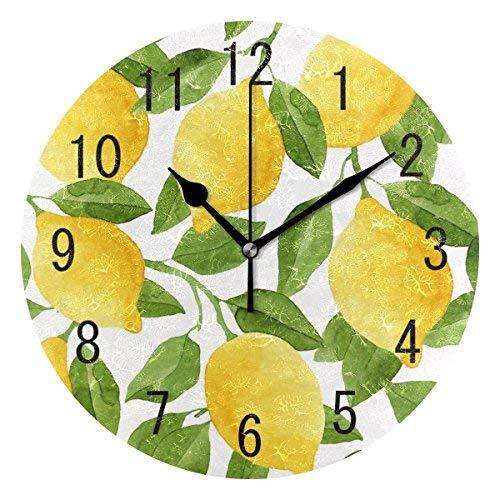 Maureen52Dorothy - Reloj de pared de madera para acuarela, diseño de frutas y limones, para salón, dormitorio, cocina, 30 cm